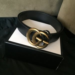 gucci double g buckle black belt for men